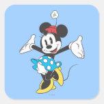 Minnie Mouse clásica 2 Calcomania Cuadrada Personalizada