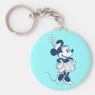 Minnie Mouse clásica Blue1 Llavero Redondo Tipo Pin
