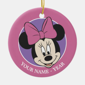 Minnie Mouse | Classic Smiling Add Your Name Ceramic Ornament