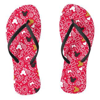 Minnie Mouse   Doodle Pattern Flip Flops