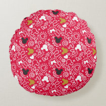 Minnie Mouse | Doodle Pattern Round Pillow