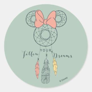 Minnie Mouse Dream Catcher | Follow Your Dreams Classic Round Sticker
