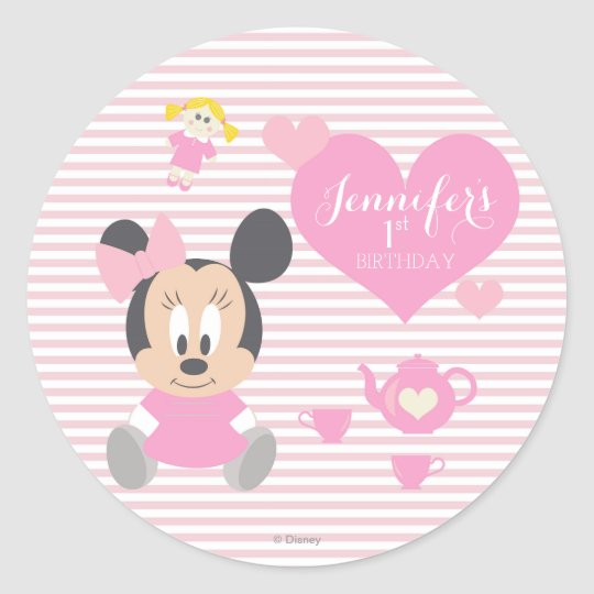 DAISY DUCK BABY SHOWER PERSONALIZED ROUND PARTY STICKERS FAVORS VARIOUS SIZES