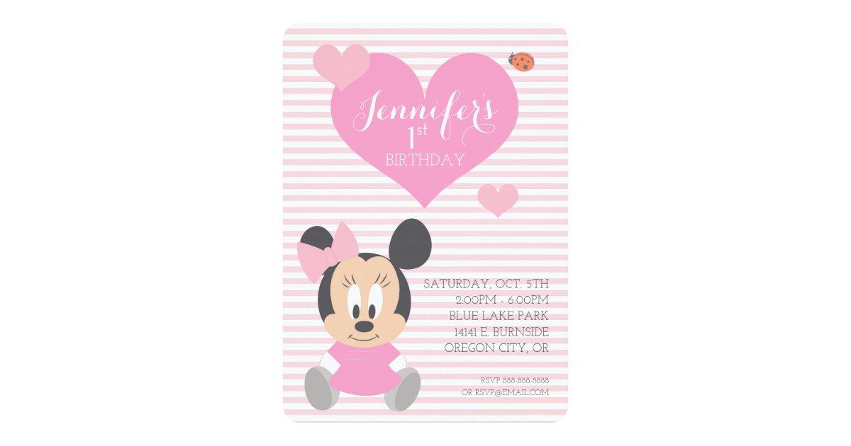 Minnie Mouse First Birthday Invitation Zazzle Com