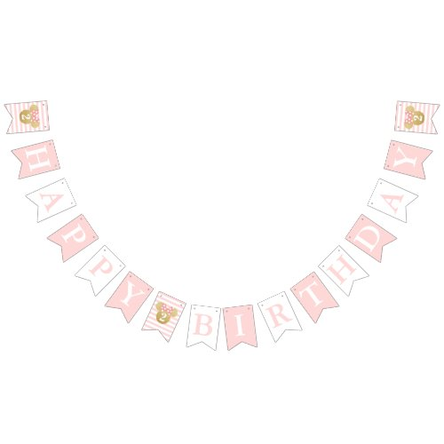 Minnie Mouse  Gold  Pink Birthday Bunting Flags