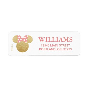 Disney Themed Minnie Mouse | Gold & Pink Birthday Label