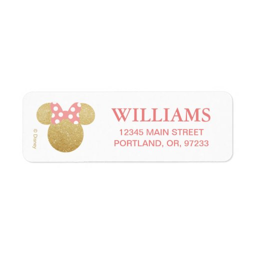 Minnie Mouse | Gold & Pink Birthday Label