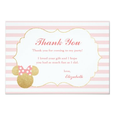 Disney Themed Minnie Mouse | Gold & Pink Birthday Thank You Card