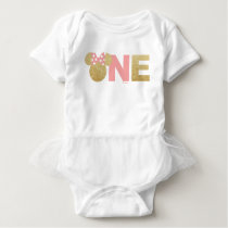Minnie Mouse | Gold & Pink First Birthday Baby Bodysuit