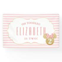 Minnie Mouse | Gold & Pink Striped Birthday Banner