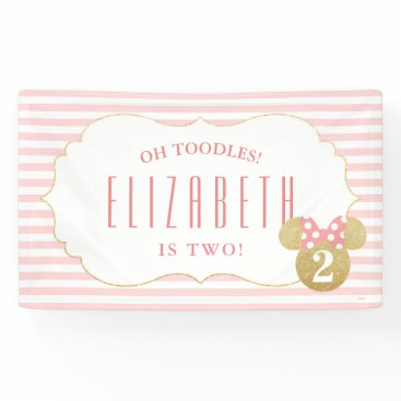 birthday Minnie Mouse | Gold & Pink Striped Birthday Banner