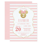 Minnie Mouse | Gold & Pink Striped Birthday Card at Zazzle