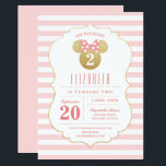 "Minnie Mouse | Gold &amp; Pink Striped Birthday Invitation<br><div class=""desc"">Oh Toodles! Invite all your family and friends to your daughter&#39;s Minnie Mouse themed Birthday Party with these faux gold and pink striped birthday invitations.</div>"