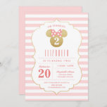 """Minnie Mouse   Gold & Pink Striped Birthday Invitation<br><div class=""""desc"""">Oh Toodles! Invite all your family and friends to your daughter's Minnie Mouse themed Birthday Party with these faux gold and pink striped birthday invitations.</div>"""