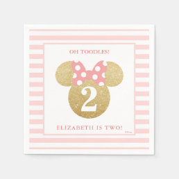 Minnie Mouse | Gold & Pink Striped Birthday Paper Napkin