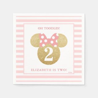 Minnie Mouse | Gold & Pink Striped Birthday Paper Napkin at Zazzle