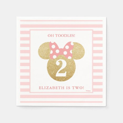 Minnie Mouse   Gold & Pink Striped Birthday Paper Napkins