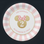 "Minnie Mouse | Gold &amp; Pink Striped Birthday Paper Plate<br><div class=""desc"">Celebrate your daughter&#39;s birthday by throwing a Minnie Mouse themed party with these customizable faux gold and pink paper plates.  Personalize by adding your daughter&#39;s name and age.</div>"