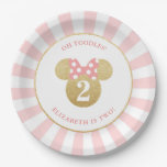Minnie Mouse | Gold &amp; Pink Striped Birthday Paper Plate<br><div class='desc'>Celebrate your daughter&#39;s birthday by throwing a Minnie Mouse themed party with these customizable faux gold and pink paper plates.  Personalize by adding your daughter&#39;s name and age.</div>