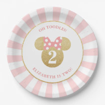 Minnie Mouse | Gold & Pink Striped Birthday Paper Plate