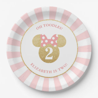 Minnie Mouse | Gold & Pink Striped Birthday Paper Plate at Zazzle