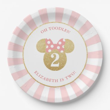 Disney Themed Minnie Mouse | Gold & Pink Striped Birthday Paper Plate
