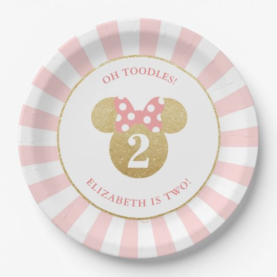 Minnie Mouse | Gold u0026 Pink Striped Birthday Paper Plate  sc 1 st  Zazzle & Minnie Mouse | Gold u0026 Pink Striped Birthday Paper Plate | Zazzle.com