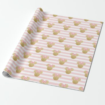 Disney Themed Minnie Mouse | Gold & Pink Striped Birthday Wrapping Paper