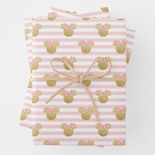 Minnie Mouse | Gold & Pink Striped Birthday Wrapping Paper Sheets