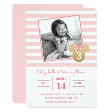 Disney Themed Minnie Mouse | Gold & Pink Striped Photo Birthday Card