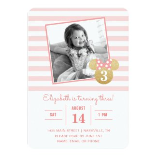 Minnie Mouse | Gold & Pink Striped Photo Birthday Card