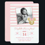 "Minnie Mouse | Gold & Pink Striped Photo Birthday Invitation<br><div class=""desc"">Invite all your family and friends to your daughter's Minnie Mouse themed Birthday Party with these faux gold and pink striped birthday invitations. Personalize by adding your favorite photo.</div>"