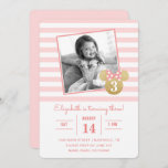 """Minnie Mouse   Gold & Pink Striped Photo Birthday Invitation<br><div class=""""desc"""">Invite all your family and friends to your daughter's Minnie Mouse themed Birthday Party with these faux gold and pink striped birthday invitations. Personalize by adding your favorite photo.</div>"""