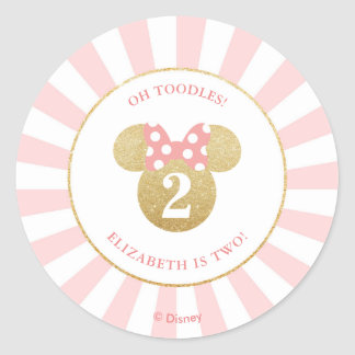 Minnie Mouse | Gold & Pink - Thank You Classic Round Sticker