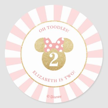 Disney Themed Minnie Mouse | Gold & Pink - Thank You Classic Round Sticker