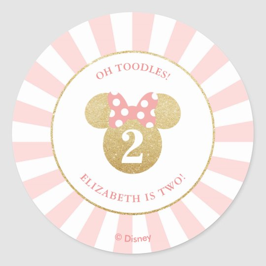 Minnie Mouse Gold Pink Thank You Classic Round Sticker