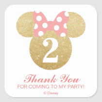 Minnie Mouse   Gold & Pink - Thank You Square Sticker