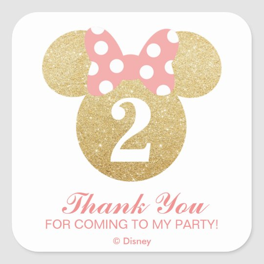 Minnie mouse gold pink thank you square sticker