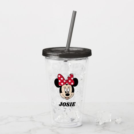 Minnie Mouse | Head Logo - Add Your Name Acrylic Tumbler