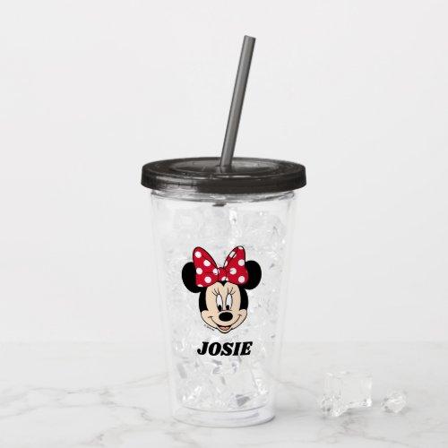 Minnie Mouse   Head Logo - Add Your Name Acrylic Tumbler