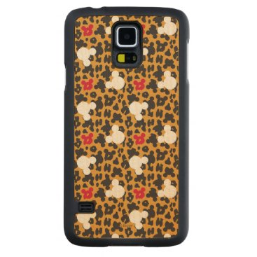 Disney Themed Minnie Mouse | Leopard Pattern Carved Maple Galaxy S5 Case