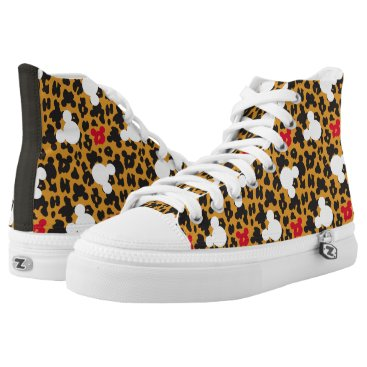 Disney Themed Minnie Mouse | Leopard Pattern High-Top Sneakers