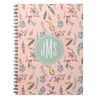 Minnie Mouse Monogram | Adventures Await Pattern 2 Spiral Notebook