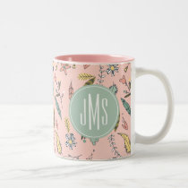 Minnie Mouse | Monogram Adventures Await Pattern Two-Tone Coffee Mug