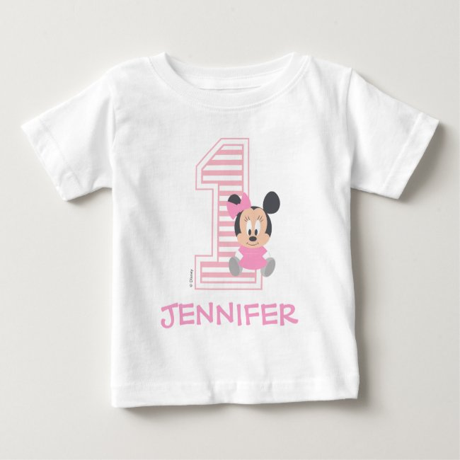 Minnie Mouse | Personalized First Birthday Baby T-Shirt