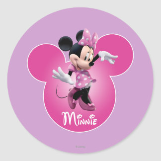 Minnie Mouse Pink Classic Round Sticker
