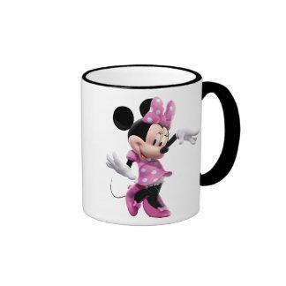 Minnie Mouse pink polka-dot dress waving dancing Coffee Mugs