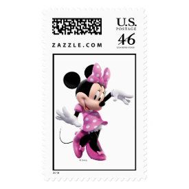 Minnie Mouse pink polka-dot dress waving dancing Postage Stamps