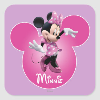 Minnie Mouse Pink Square Sticker