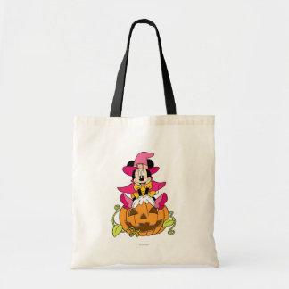 Minnie Mouse que se sienta en la Jack-O-Linterna Bolsa